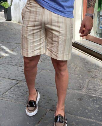 Bermuda beige a righe