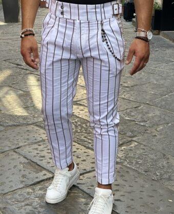 Pantalone vita alta Ddsmile fibia laterale bianco e nero di lino