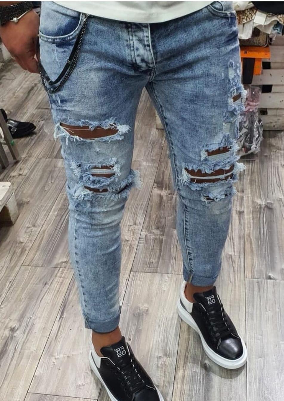 scienziato Centimetro pistone  Jeans uomo slim con rotture Chiaro - Dd Smile