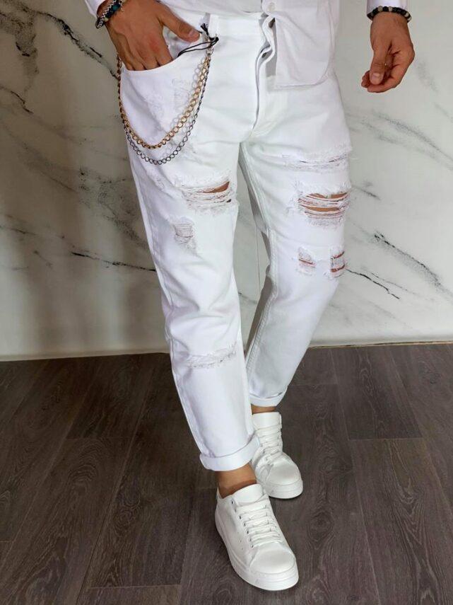 jeans bianco strappato