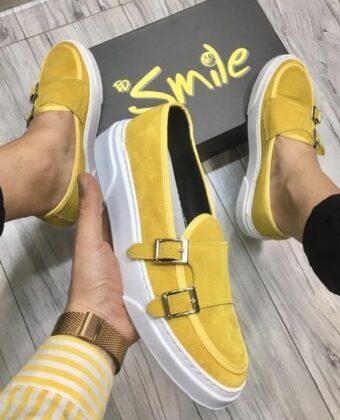 Scarpe sneackers mocassino fibia giallo camoscio Ddsmile