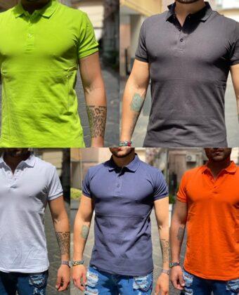 Polo Shirt uomo slim cotone nera gialla arancio blu bianca