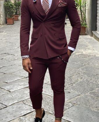 Abito uomo sartoriale bordeaux giacca doppio petto e pantalone Vita alta