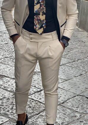 Abito giacca e pantalone vita alta Smoking Ddsmile beige chiaro slim uomo