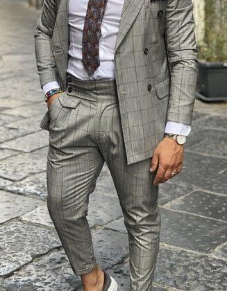 Abito quadro Galles grigio doppio petto pantalone vita alta giacca slim