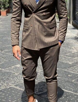 Abito Marrone elegante doppio petto sartoriale pantalone vita alta giacca slim