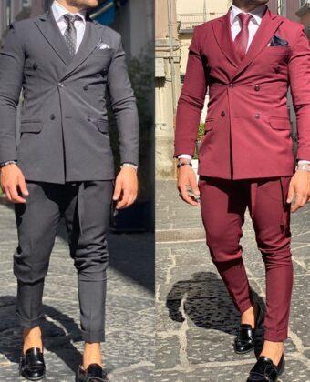 Abito uomo slim nero o Bordeaux doppio petto con cinturino Exclusive Ddsmile Limited