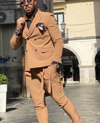 Abito uomo slim beige doppio pettoCollezione Exclusive Ddsmile Limited