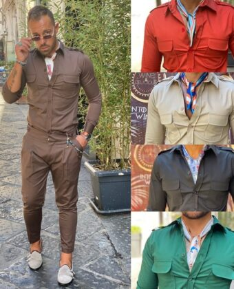 Camicia cotone elegante con tasconi regular Collection exclusive Ddsmile s m L XL xxl