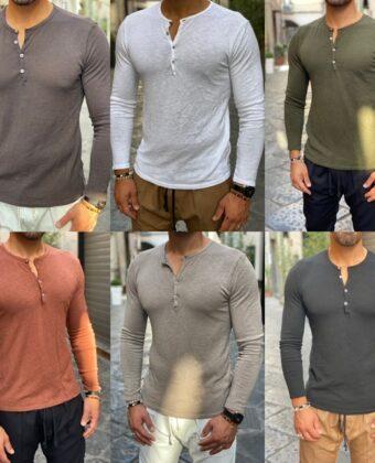 Maglia Shirt bottoni maglioncino uomo slim vari colori DdSmile