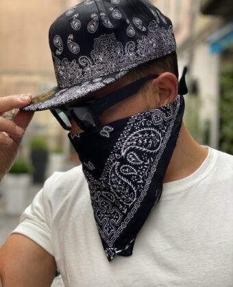 Completo Cappello uomo visiera bandana bianca e nera