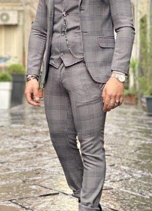 Abito giacca gilet pantalone quadrettino bianco nero Ddsmile slim