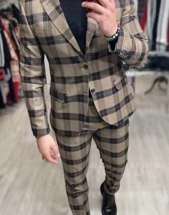 Abito uomo sartoriale Ddsmile quadri beige giacca e pantalone slim