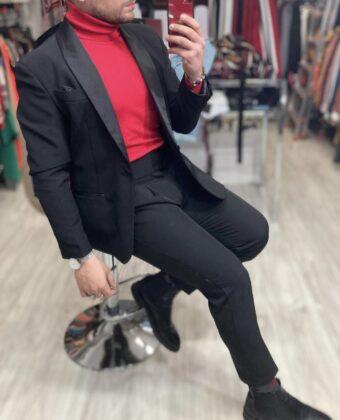 Abito giacca pantalone e dolcevita rosso Offerta Ddsmile Natale e capodanno
