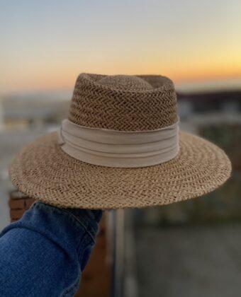 Cappello paglia riga beige uomo donna tg unica 2021