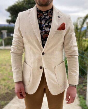 Giacca sartoriale bianca fantasia puntinata uomo slim 2 bottoni