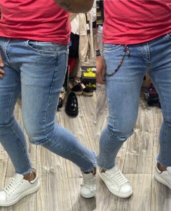 Jeans slim chiaro strappato alle ginocchia uomo Ddsmile