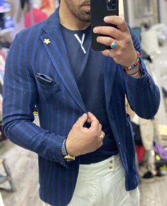 Giacca cotone blu rigata uomo 2 bottoni limited