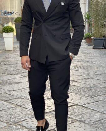 Abito sartoriale nero doppio petto pantalone vita alta e giacca slim uomo Ddsmile