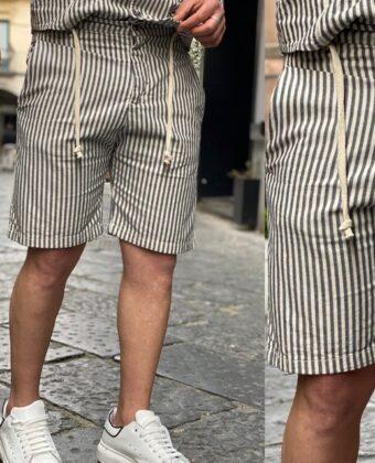 Bermuda riga lino blu e bianco pantaloncino uomo Ddsmile