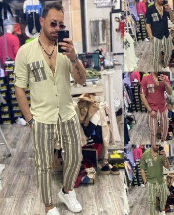 Outfit limited camicia Lino e pantalone lino uomo Completo Ddsmile