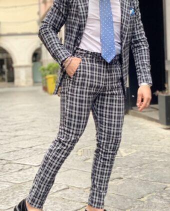 Abito limited sartoriale Ddsmile giacca e pantalone nero 2 bottoni quadri