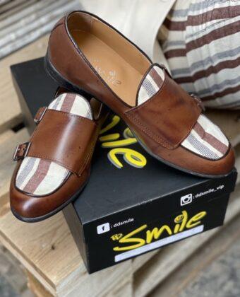 Mocassino uomo limited cuoio scarpe pelle e tessuto Ddsmile
