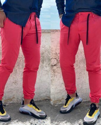 Pantalone sartoriale uomo rosa con lacciò e molla alla caviglia Ddsmile