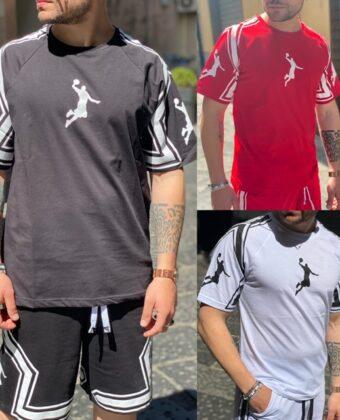 Completino uomo Ddsmile rosso bianco o nero bermuda e Shirt Jordan