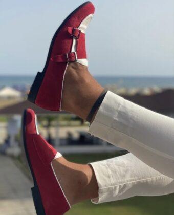 Mocassino doppia fibia limited Ddsmile bianco e rosso scarpe uomo limited
