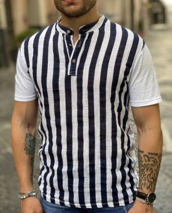 Shirt lino e cotone riga blu collo coreano serafino uomo