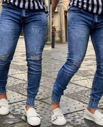 Jeans slim uomo denim strappato alle ginocchia sfilacciato alla caviglia