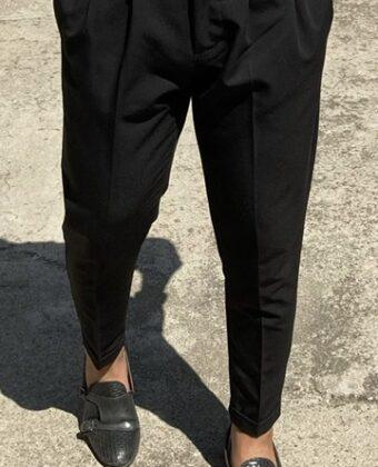 Pantalone sartoriale Ddsmile nero vita alta cotone limited