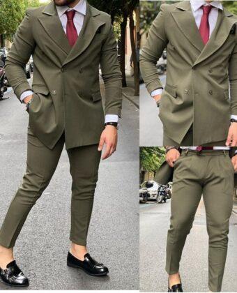 Abito uomo doppio petto completo giacca e pantalone verde Ddsmile