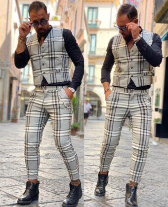 Outfit Ddsmile completo gilet e pantalone bianco e nero scozzese uomo slim limited
