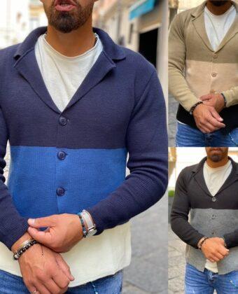Giacca uomo slim cardigan di filo in vari colori Ddsmile limited