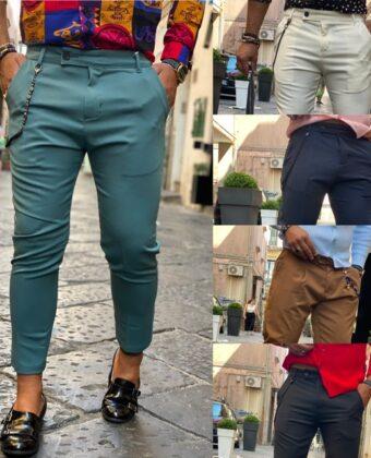 Pantalone sartoriale un bottone laterale cotone e viscosa elegante e sportivo slim Ddsmile in vari Colori