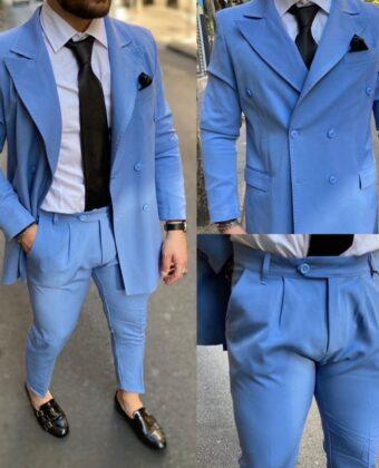 Abito uomo sartoriale completo giacca doppio petto e pantalone celeste carta da zucchero