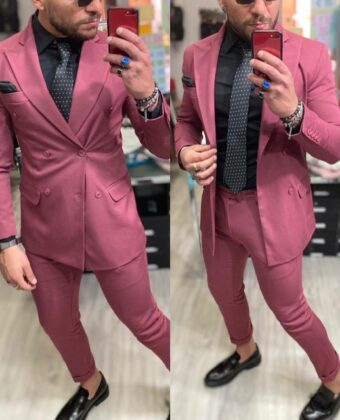 Abito limited rosa completo giacca doppio petto e pantalone sartoriale uomo