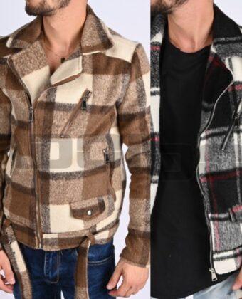 Jacket uomo Giubbino slim Chiodo imbottito limited quadrino due colori