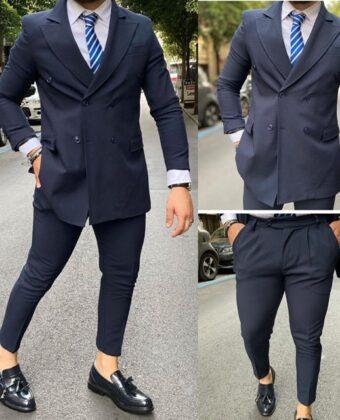 Abito uomo doppio petto completo giacca e pantalone blu  Ddsmile