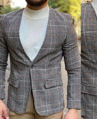 Giacca coreana grigia scozzese slim di lana uomo