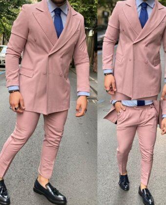 Abito uomo doppio petto completo giacca e pantalone rosa Ddsmile